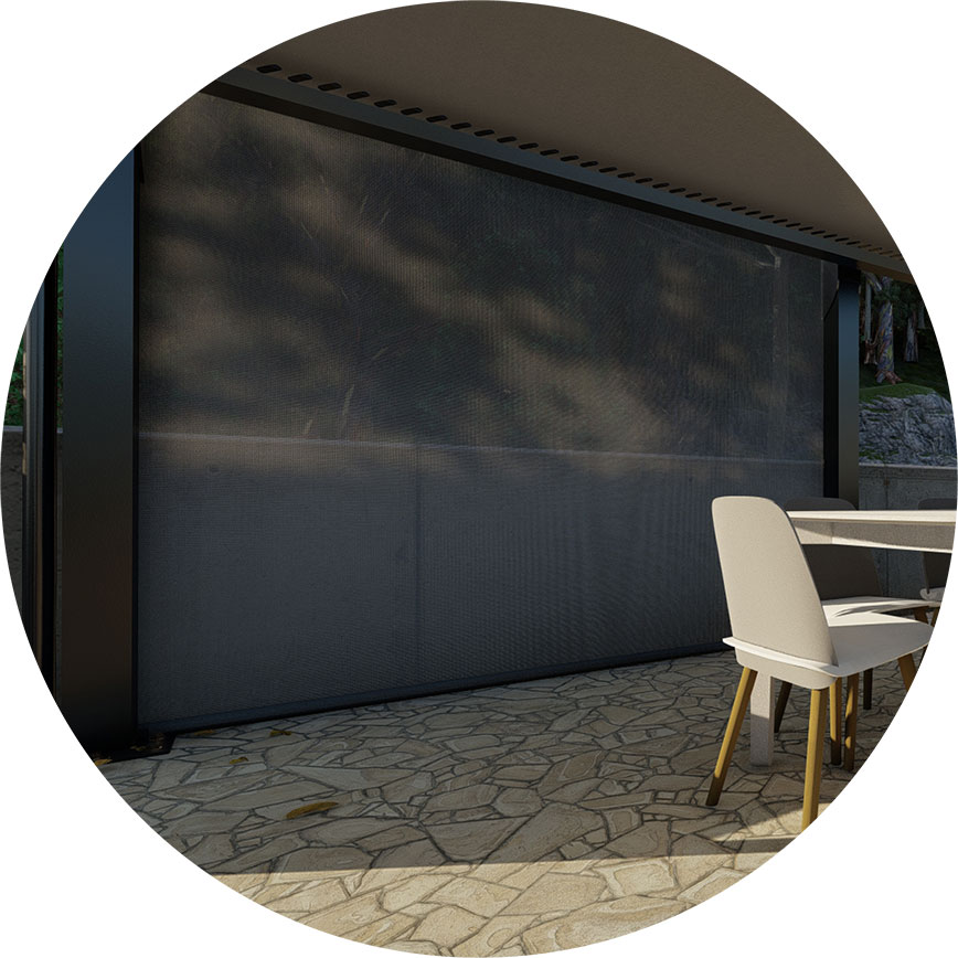 Modiform Shade Sails, Product KOEDN Luda+66 waterproof shade sail close up of roller blind screen in colour Boulder